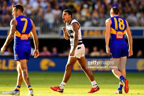 Tim Kelly of the Cats celebrates a goal during the 2018 AFL round 03 match between the West Coast Eagles and the Geelong Cats at Perth Stadium on...