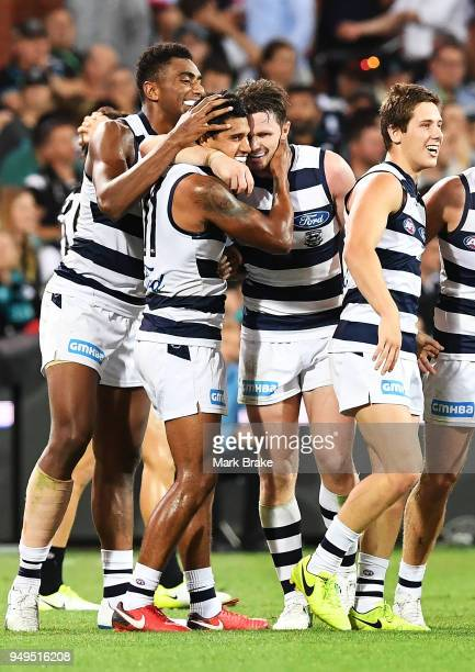 Tim Kelly of the Cats celebrates a goal during the round five AFL match between the Port Adelaide Power and the Geelong Cats at Adelaide Oval on...