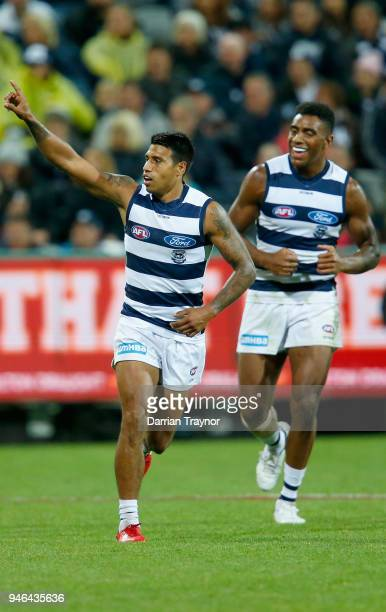 Tim Kelly of the Cats celebrates a goal during the round four AFL match between the Geelong Cats and the St Kilda Saints at GMHBA Stadium on April 15...