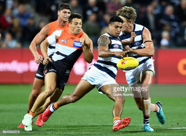 Tim Kelly of the Cats kicks during the round seven AFL match between the Geelong Cats and the Greater Western Sydney Giants at GMHBA Stadium on May 4...