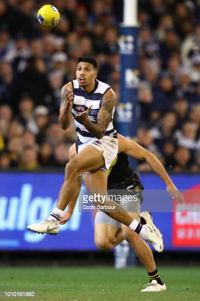 Tim Kelly of the Cats marks the ball during the round 20 AFL match between the Richmond Tigers and the Geelong Cats at Melbourne Cricket Ground on...