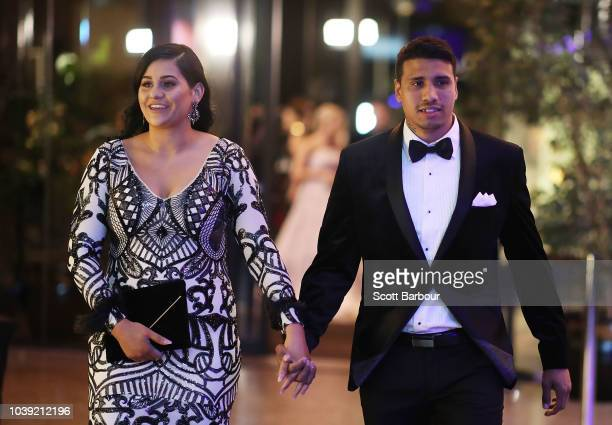 Tim Kelly of the Cats with fiance Caitlin Miller arrive ahead of the 2018 Brownlow Medal at Crown Entertainment Complex on September 24 2018 in...