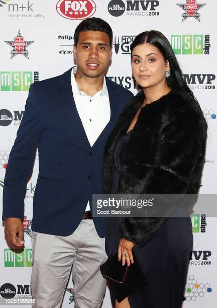 Tim Kelly of the Geelong Cats and partner attend during the 2018 AFL Players' MVP Awards at the Basement on August 30 2018 in Melbourne Australia