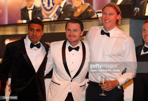 Tim Kelly Patrick Dangerfield and Mark Blicavs of the Cats pose for a photo during the 2018 Brownlow Medal Count at Crown Palladium on September 24...