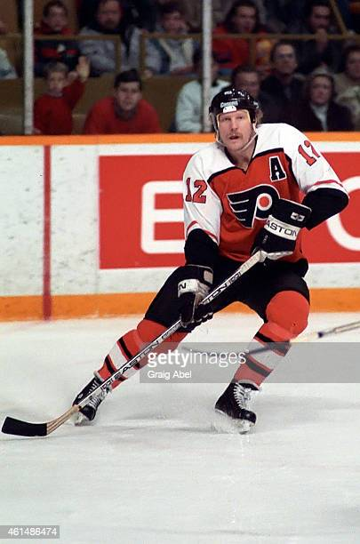 Tim Kerr of the Philadelphia Flyers skates up ice against the Toronto Maple Leafs at Maple Leaf Gardens on December 17 1988 in Toronto Ontario Canada