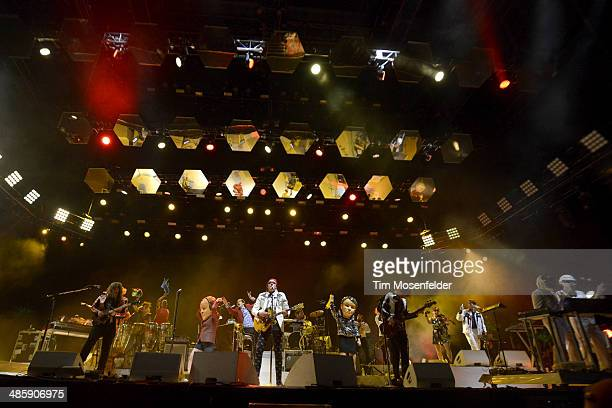 Tim Kingsbury Regine Chassagne Win Butler Richard Reed Parry of Arcade Fire and guests dressed as Daft Punk perform as part of the Coachella Valley...
