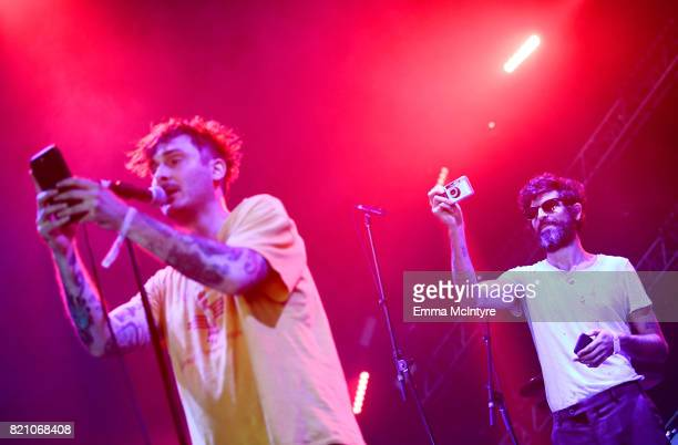 Tim Kinsella of Cap'n Jazz and Devendra Banhart perform onstage during day 2 of FYF Fest 2017 at Exposition Park on July 22 2017 in Los Angeles...