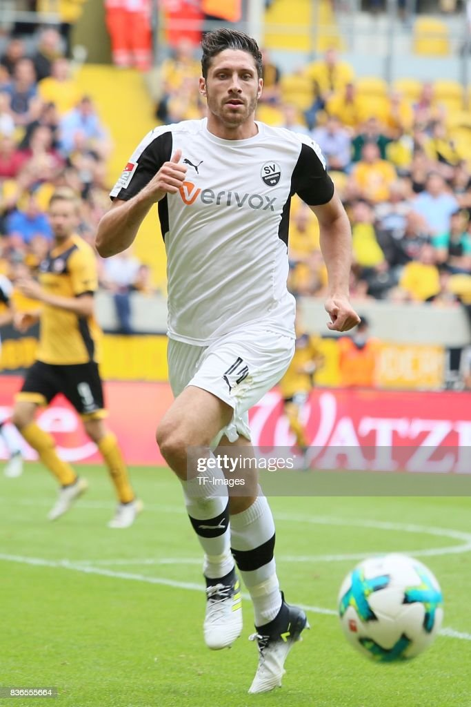 Tim Kister of Sandhausen in action during the Second Bundesliga match between Dynamo Dresden and SV Sandhausen at DDV-Stadion on August 19, 2017 in Dresden, Germany.