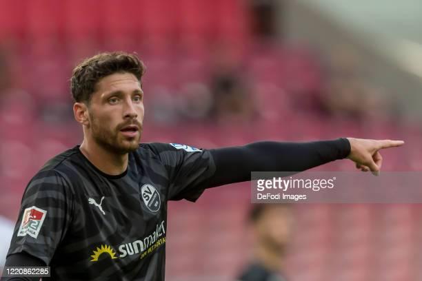 Tim Kister of SV Sandhausen gestures during the Second Bundesliga match between VfB Stuttgart and SV Sandhausen at Mercedes-Benz Arena on June 17,...