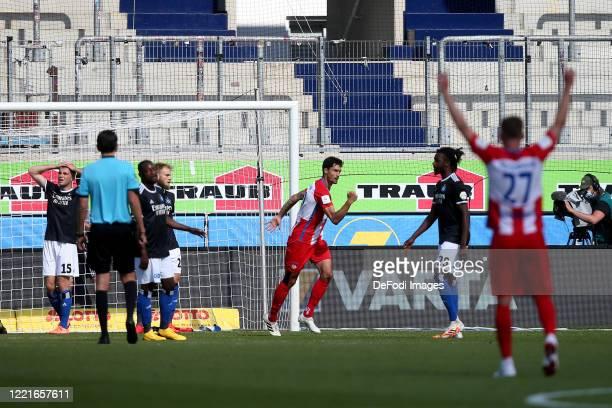 Tim Kleindienst of 1.FC Heidenheim 1846 celebrates after scoring his team's first goal during the Second Bundesliga match between 1. FC Heidenheim...