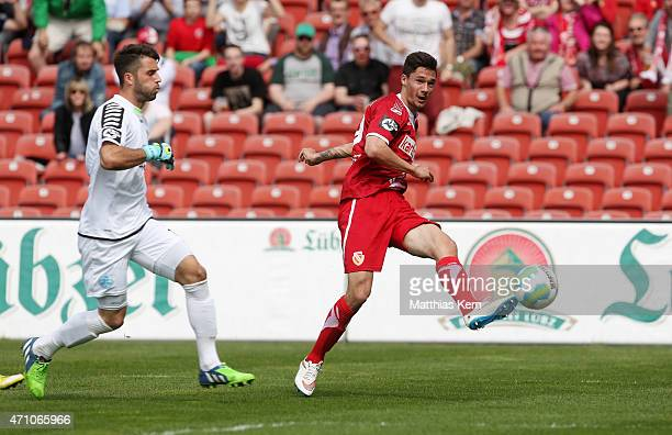 Tim Kleindienst of Cottbus scores the second goal during the third league match between FC Energie Cottbus and SV Stuttgarter Kickers at Stadion der...