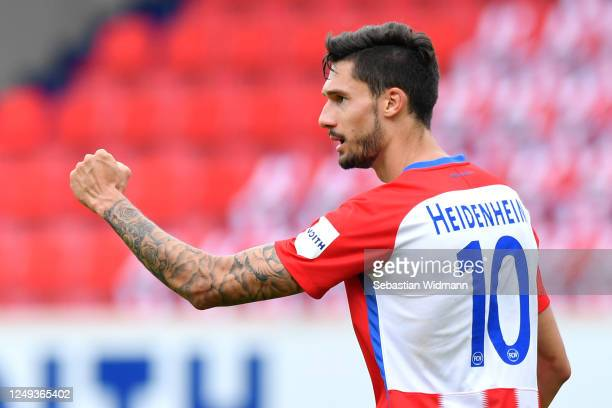 Tim Kleindienst of FC Heidenheim 1846 celebrates scoring his teams second goal of the game during the Second Bundesliga match between 1. FC...