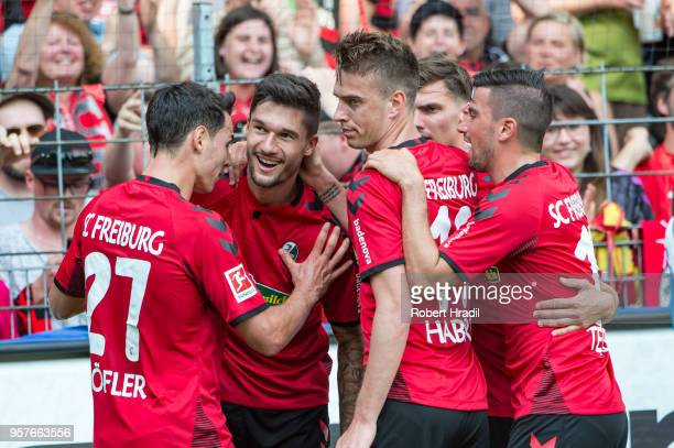 Tim Kleindienst of Freiburg celebrates after scoring a goal during the Bundesliga match between SportClub Freiburg and FC Augsburg at...
