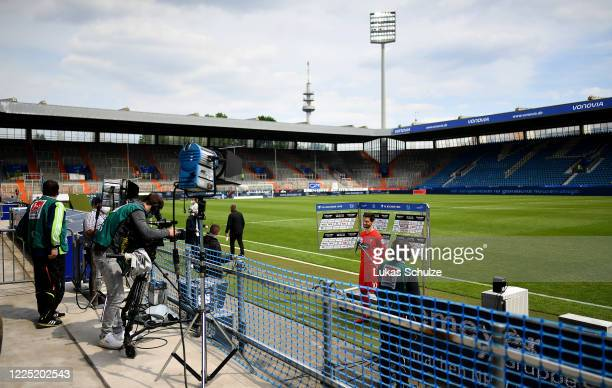 Tim Kleindienst of Heidenheim gives an interview after the Second Bundesliga match between VfL Bochum 1848 and 1. FC Heidenheim 1846 at Vonovia...