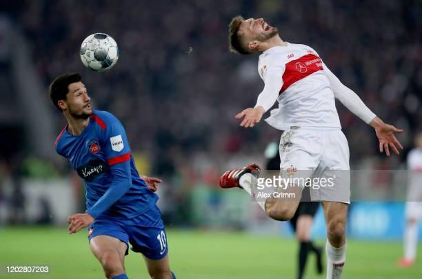 Tim Kleindienst of Heidenheim in action against Nathaniel Phillips of Stuttgart during the Second Bundesliga match between VfB Stuttgart and 1. FC...