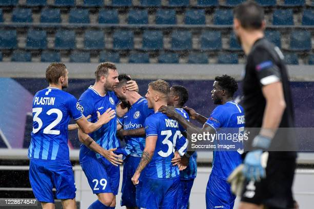 Tim Kleindienst of KAA Gent celebrates 11 with teammates during the UEFA Champions League match between Gent v Dinamo Kiev at the Ghelamco Arena on...