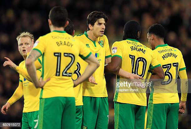 Tim Klose of Norwich City lines up a defensive wall during the Sky Bet Championship match between Norwich City and Birmingham City at Carrow Road on...
