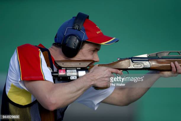 Tim Kneale of the Isle of Man competes in the Men's Double Trap Finals on day seven of the Gold Coast 2018 Commonwealth Games at Belmont Shooting...