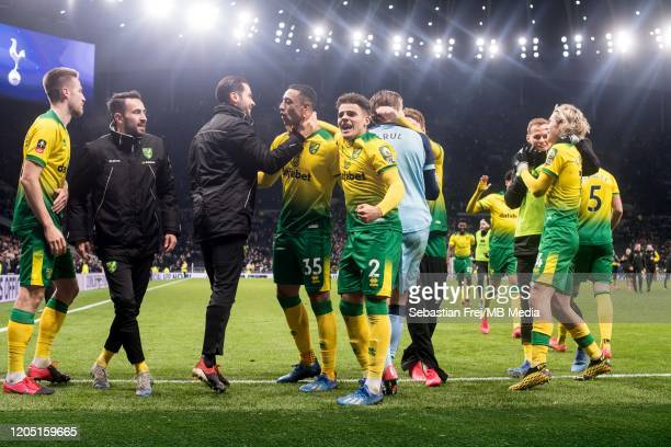 Tim Krul Adam Idah Max Aarons Grant Hanley Jamal Lewis Marco Stiepermann of Norwich City celebrate after winning penalty shootout during the FA Cup...