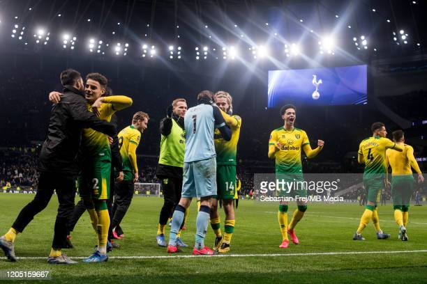 Tim Krul Adam Idah Max Aarons Jamal Lewis Marco Stiepermann of Norwich City celebrates after winning penalty shootout during the FA Cup Fifth Round...