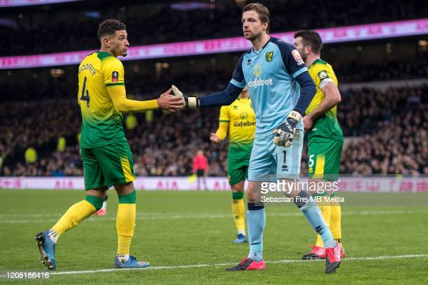 Tim Krul and Ben Godfrey of Norwich City reacts during the FA Cup Fifth Round match between Tottenham Hotspur and Norwich City at Tottenham Hotspur...