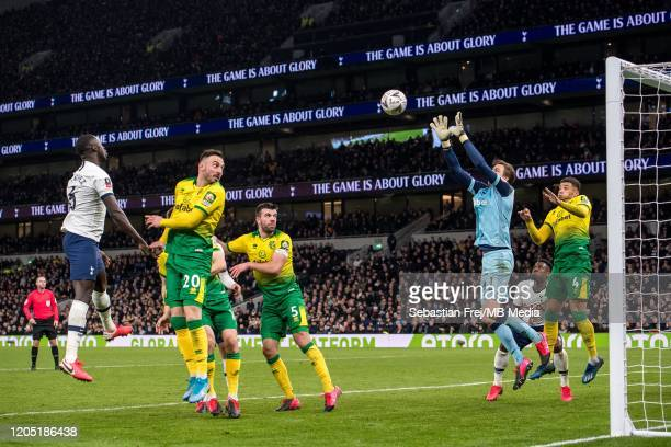Tim Krul Ben Godfrey Josip Drmic Grant Hanley of Norwich City and Davinson Sanchez of Tottenham Hotspur compete for ball during the FA Cup Fifth...