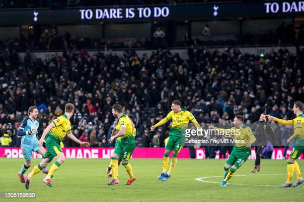Tim Krul Emi Buemdia Max Aarons Grant Hanley Jamal Lewis and Marco Stiepermann of Norwich City celebrate after winning during the FA Cup Fifth Round...