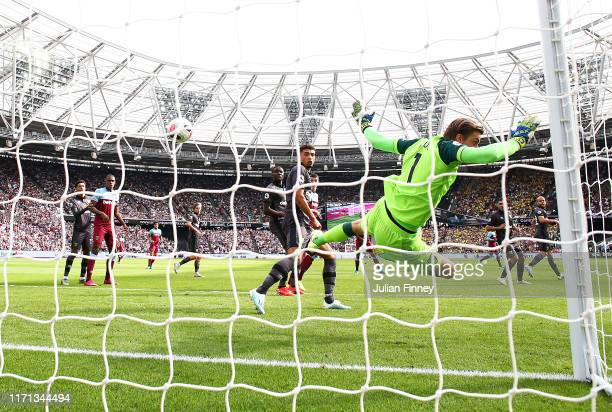 Tim Krul goalkeeper of Norwich sees the ball come off the post during the Premier League match between West Ham United and Norwich City at London...