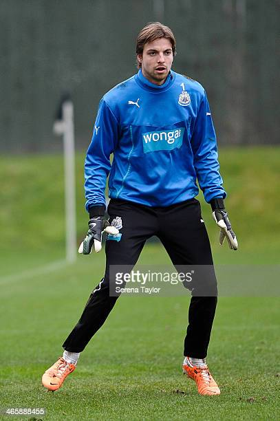 Tim Krul in action during a training session at The Newcastle United Training Centre on January 30 in Newcastle upon Tyne England