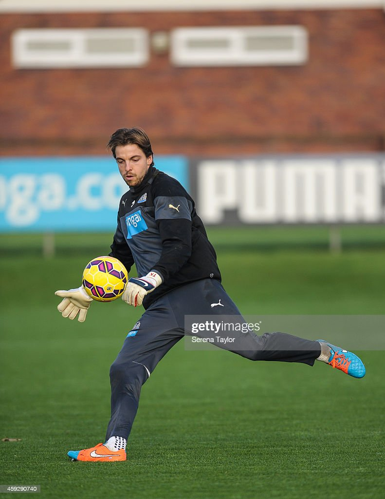 Tim Krul kicks the ball into play during a Newcastle United training session at The Newcastle United Training Centre on November 20, 2014, in Newcastle upon Tyne, England.