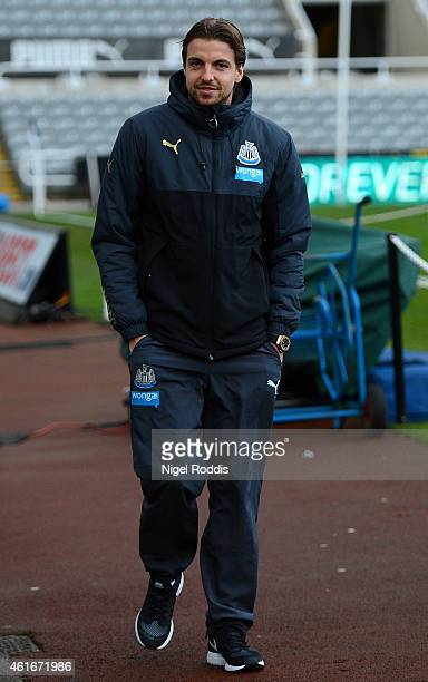 Tim Krul of Newcastle United arrives for the Barclays Premier League match between Newcastle United and Southampton at St James' Park on January 17...