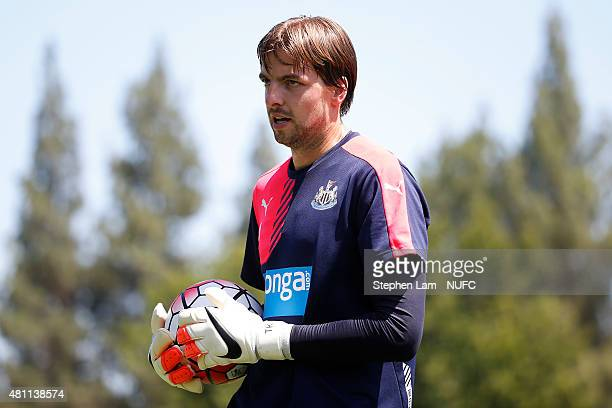 Tim Krul of Newcastle United carries the ball during a team training session at California State University Sacramento of on July 17 2015 in...