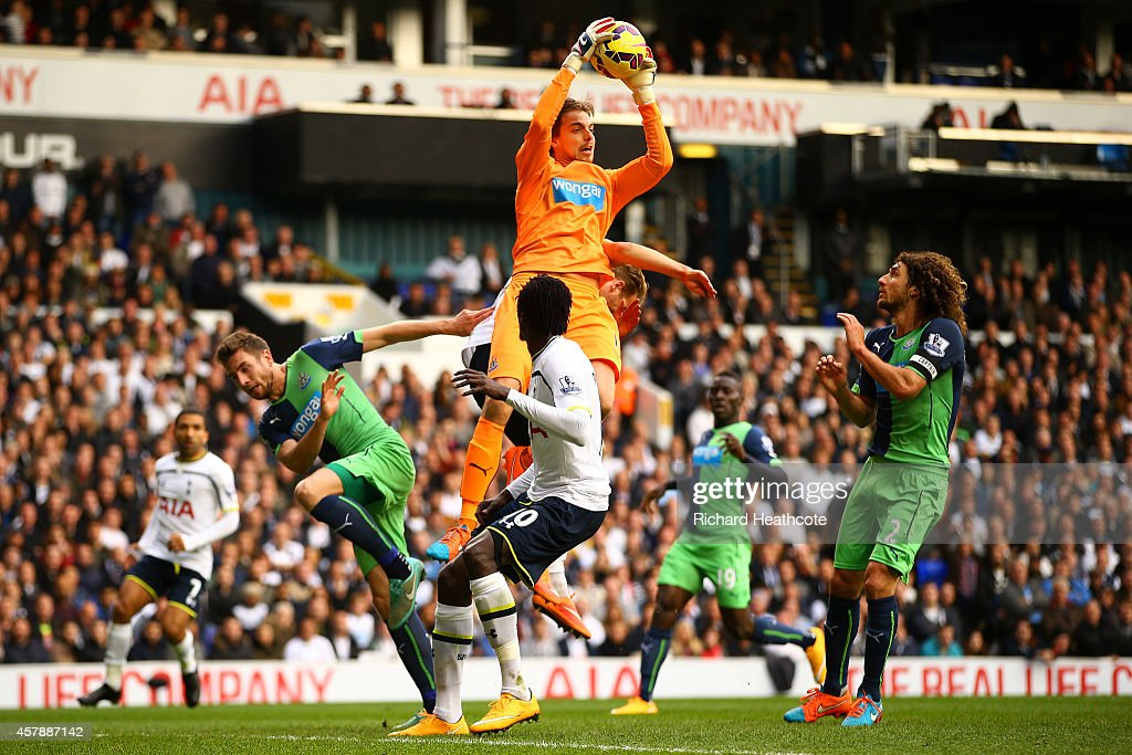 Tim Krul of Newcastle United claims a ball during the Barclays Premier League match between Tottenham Hotspur and Newcastle United at White Hart Lane on October 26, 2014 in London, England.