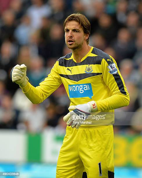 Tim Krul of Newcastle United during the Barclays Premier League match between Newcastle United and Chelsea at St James' Park on September 26 2015 in...