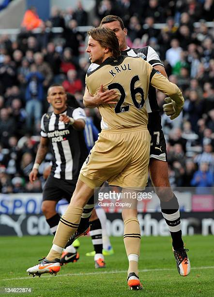 Tim Krul of Newcastle United reacts after saving the penalty of Frank Lampard of Chelsea during the Barclays Premier League match between Newcastle...