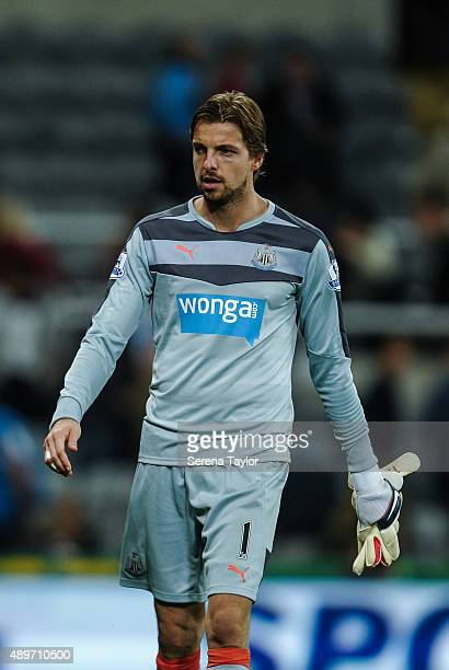 Tim Krul of Newcastle walks off the pitch after The Capital One Cup third round match between Newcastle United and Sheffield Wednesday at StJames...