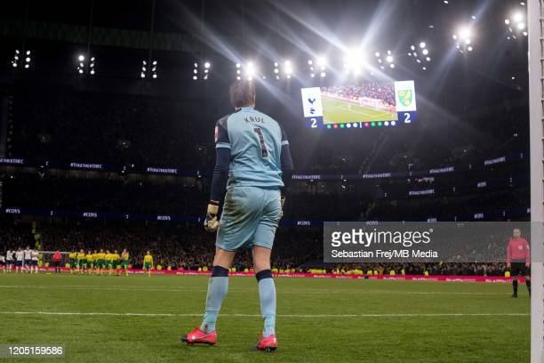 Tim Krul of Norwich City during penalty shootout during the FA Cup Fifth Round match between Tottenham Hotspur and Norwich City at Tottenham Hotspur...