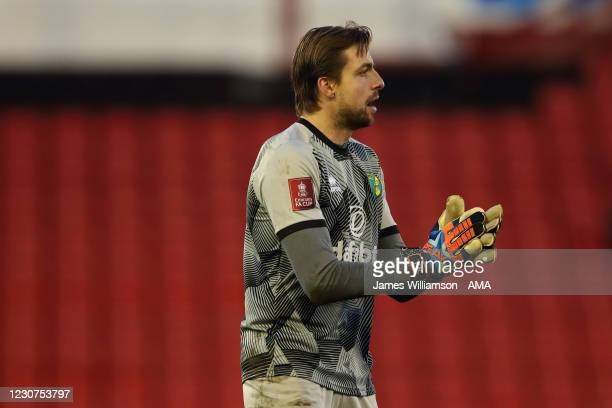 Tim Krul of Norwich City during The Emirates FA Cup Fourth Round match between Barnsley and Norwich City at Oakwell Stadium on January 23, 2021 in...