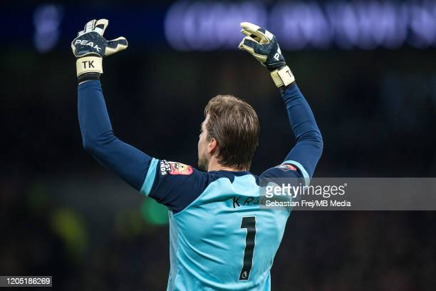 Tim Krul of Norwich City gestures during the FA Cup Fifth Round match between Tottenham Hotspur and Norwich City at Tottenham Hotspur Stadium on...
