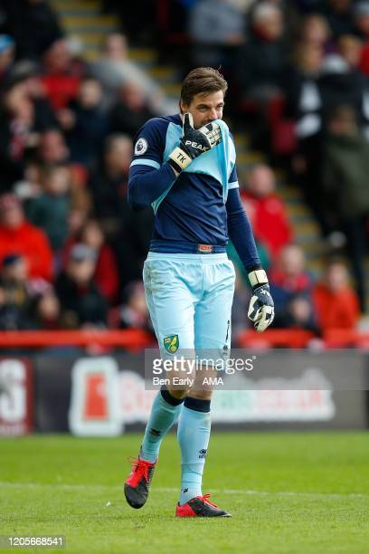 Tim Krul of Norwich City looks dejected during the Premier League match between Sheffield United and Brighton Hove Albion at Bramall Lane on February...