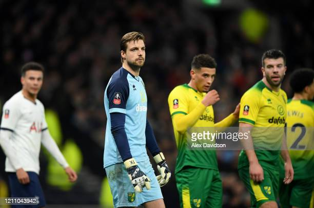 Tim Krul of Norwich City looks on during the FA Cup Fifth Round match between Tottenham Hotspur and Norwich City at Tottenham Hotspur Stadium on...