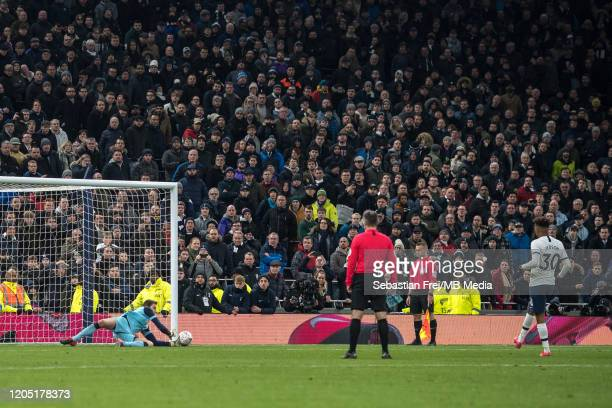 Tim Krul of Norwich City saves a penalty taken by Gedson Fernandes of Tottenham Hotspur during penalty shootout during the FA Cup Fifth Round match...