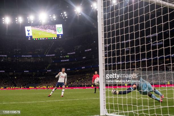 Tim Krul of Norwich City saves a penalty taken by Troy Parrott of Tottenham Hotspur during penalty shootout during the FA Cup Fifth Round match...