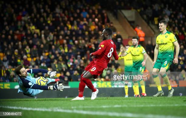 Tim Krul of Norwich City saves from Naby Keita of Liverpool during the Premier League match between Norwich City and Liverpool FC at Carrow Road on...