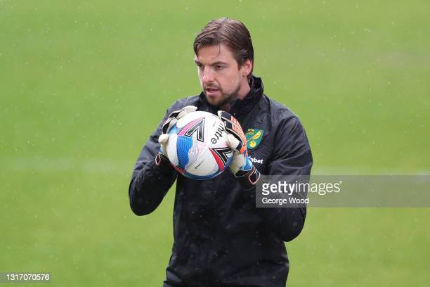Tim Krul of Norwich City warms up prior to the Sky Bet Championship match between Barnsley and Norwich City at Oakwell Stadium on May 08, 2021 in...