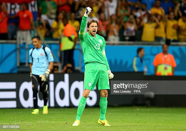 Tim Krul of the Netherlands reacts after saving a penalty kick by Bryan Ruiz of Costa Rica during the 2014 FIFA World Cup Brazil Quarter Final match...