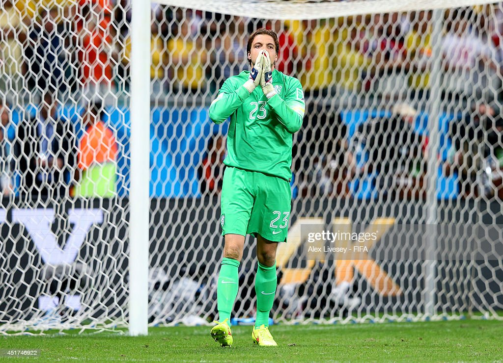 Tim Krul of the Netherlands reacts in the penatly shootout during the 2014 FIFA World Cup Brazil Quarter Final match between Netherlands and Costa Rica at Arena Fonte Nova on July 5, 2014 in Salvador, Brazil.