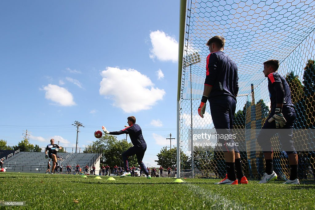 Tim Krul #1 of the Newcastle United runs through some drills during practice at Marquette University Valley Fields on July 13, 2015, in Milwaukee, Wisconsin.
