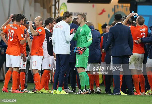 Tim Krull and Netherlands goalkeeper Jasper Cillessen during the 2014 FIFA World Cup Brazil Semi Final match between Netherlands and Argentina at The...