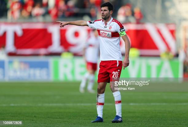 Tim Kruse of Cottbus reacts during the 3. Liga match between FC Energie Cottbus and VfL Sportfreunde Lotte at Stadion der Freundschaft on November...